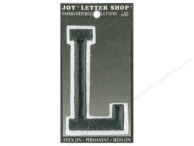 "Joy Lettershop Iron-On Embroidered Letter ""L"" 3 in. Black"