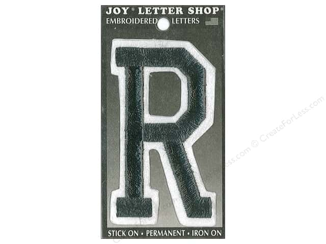 "Joy Lettershop Iron-On Embroidered Letter ""R"" 3 in. Black"