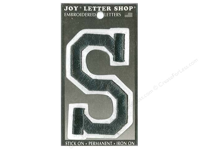 "Joy Lettershop Iron-On Embroidered Letter ""S"" 3 in. Black"