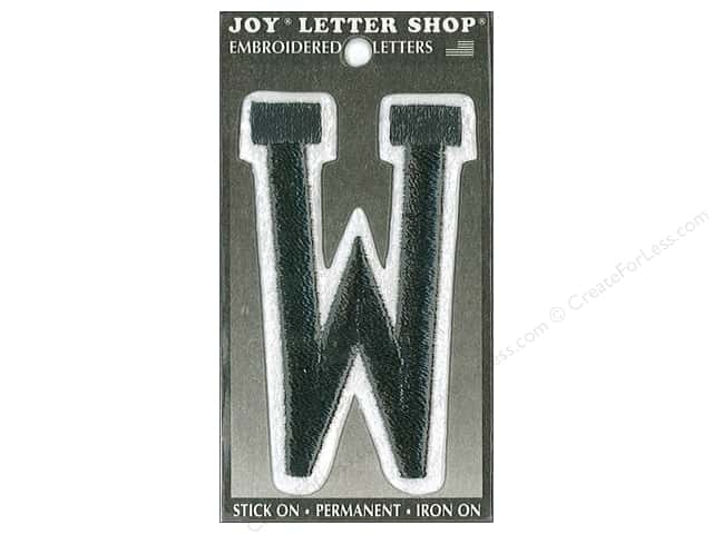 "Joy Lettershop Iron-On Embroidered Letter ""W"" 3 in. Black"