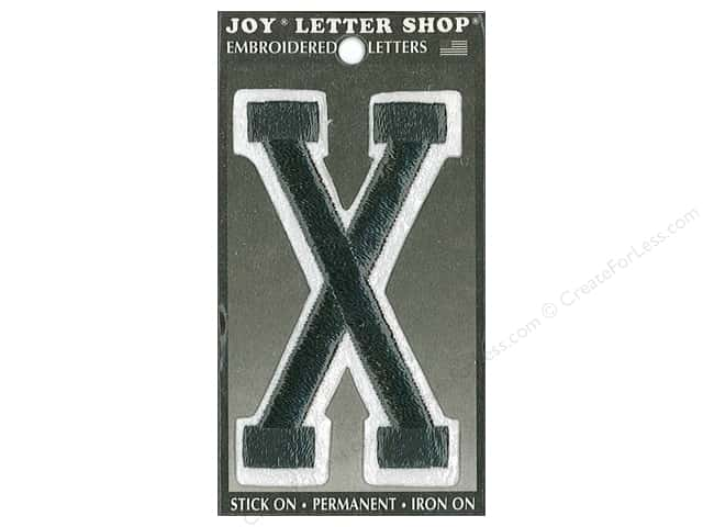 "Joy Lettershop Iron-On Embroidered Letter ""X"" 3 in. Black"