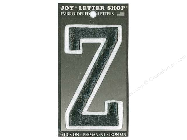 "Joy Lettershop Iron-On Embroidered Letter ""Z"" 3 in. Black"