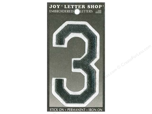 "Joy Lettershop Iron-On Embroidered Number ""3"" 3 in. Black"