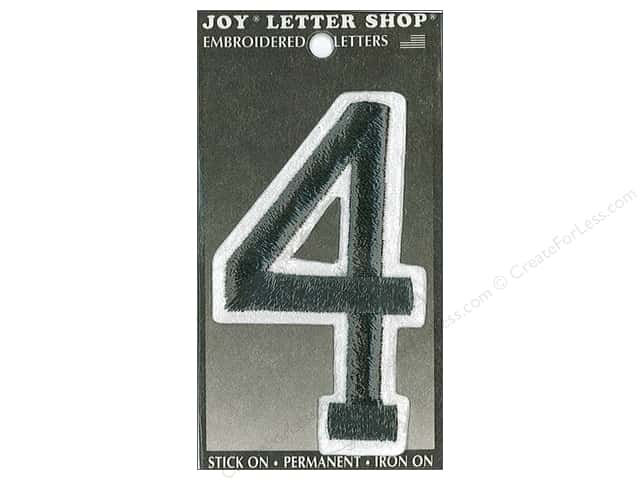 "Joy Lettershop Iron-On Embroidered Number ""4"" 3 in. Black"