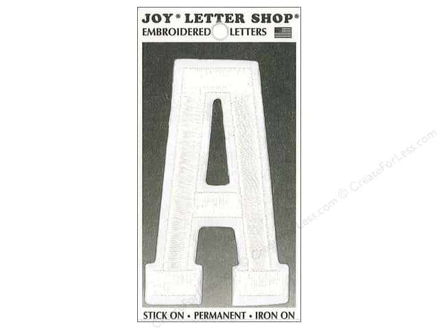 "Joy Lettershop Iron-On Embroidered Letter ""A"" 3 in. White"