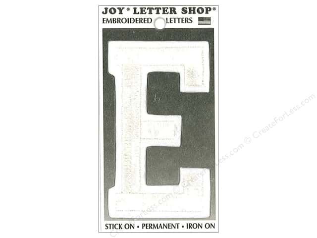 "Joy Lettershop Iron-On Embroidered Letter ""E"" 3 in. White"
