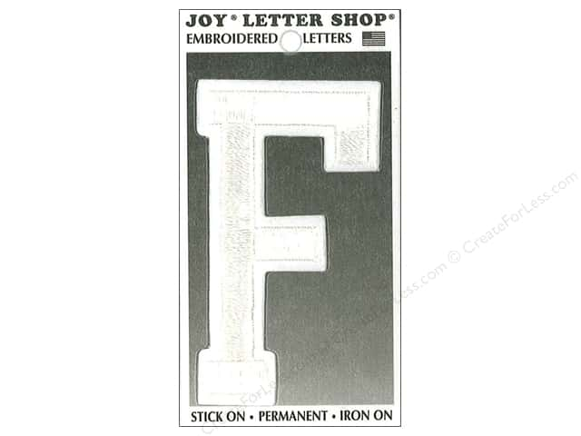 "Joy Lettershop Iron-On Embroidered Letter ""F"" 3 in. White"