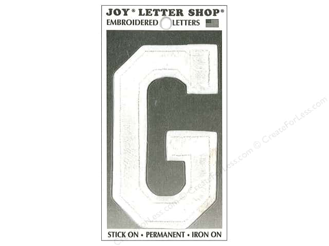 "Joy Lettershop Iron-On Embroidered Letter ""G"" 3 in. White"