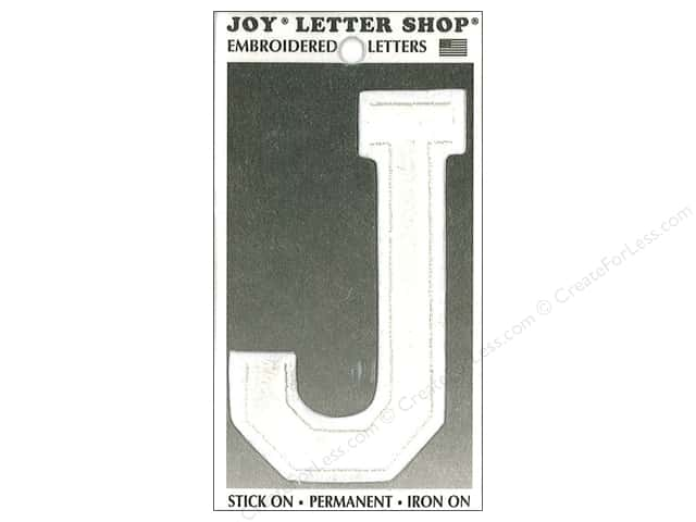 "Joy Lettershop Iron-On Embroidered Letter ""J"" 3 in. White"