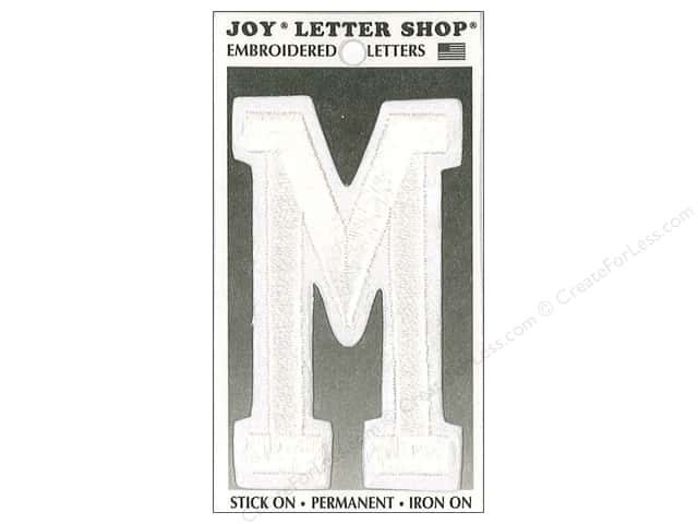 "Joy Lettershop Iron-On Embroidered Letter ""M"" 3 in. White"