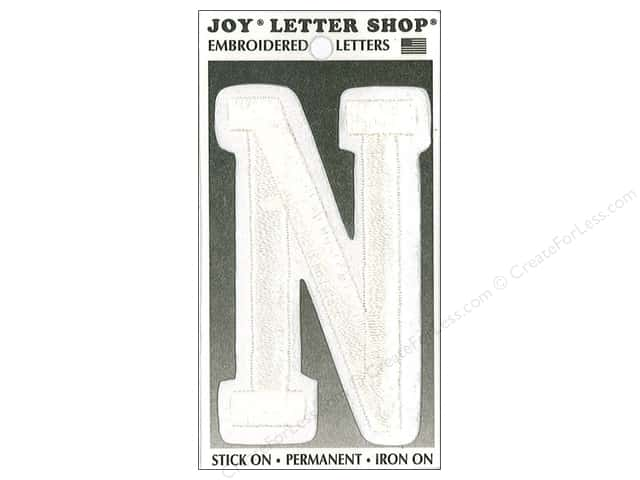 "Joy Lettershop Iron-On Embroidered Letter ""N"" 3 in. White"