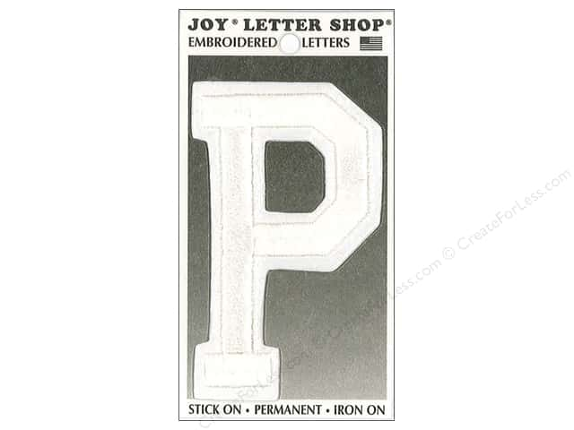 "Joy Lettershop Iron-On Embroidered Letter ""P"" 3 in. White"