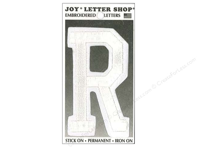 "Joy Lettershop Iron-On Embroidered Letter ""R"" 3 in. White"