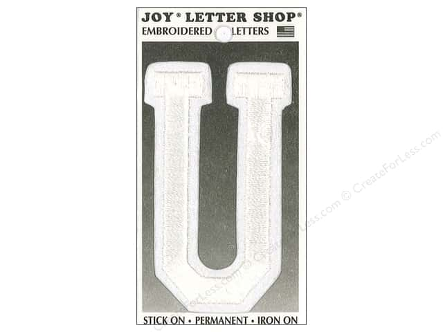 "Joy Lettershop Iron-On Embroidered Letter ""U"" 3 in. White"