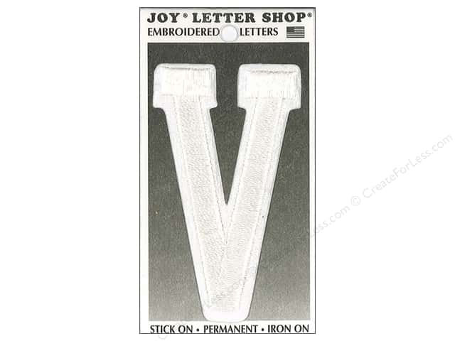"Joy Lettershop Iron-On Embroidered Letter ""V"" 3 in. White"