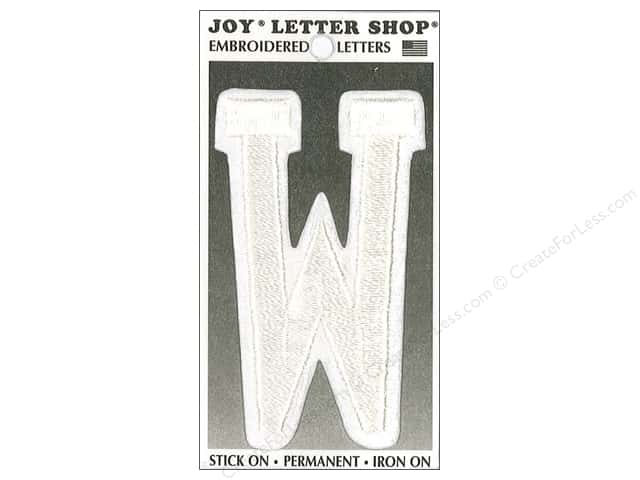 "Joy Lettershop Iron-On Embroidered Letter ""W"" 3 in. White"