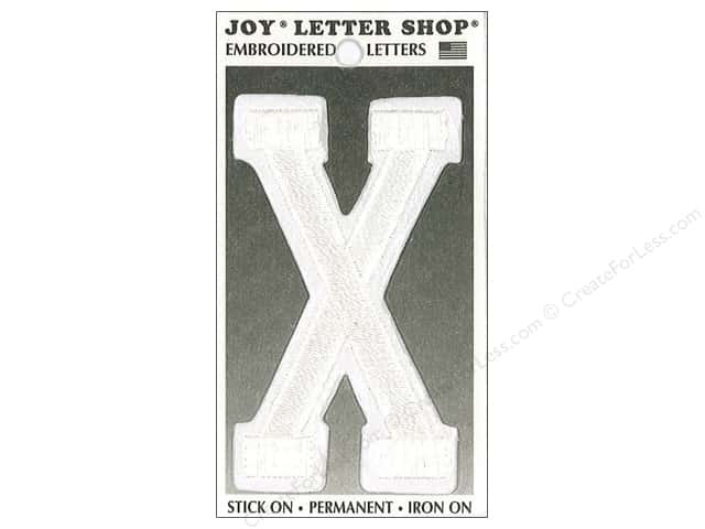 "Joy Lettershop Iron-On Embroidered Letter ""X"" 3 in. White"