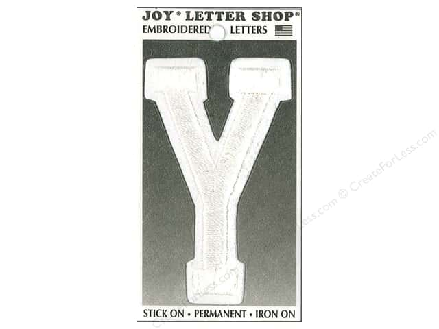 "Joy Lettershop Iron-On Embroidered Letter ""Y"" 3 in. White"