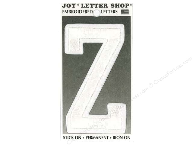 "Joy Lettershop Iron-On Embroidered Letter ""Z"" 3 in. White"