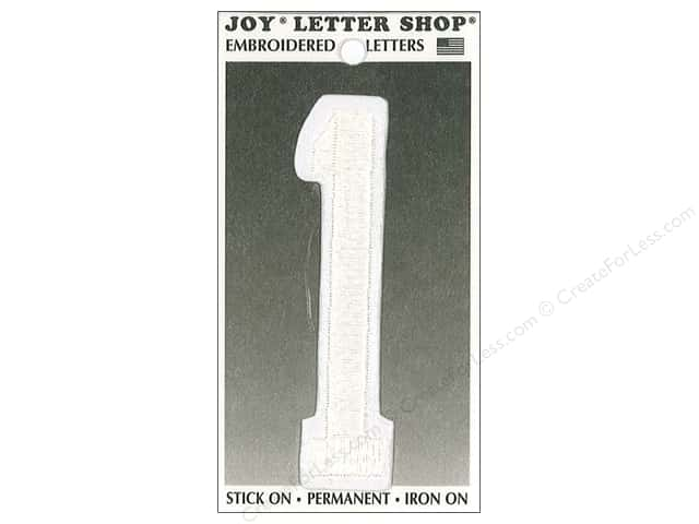 "Joy Lettershop Iron-On Embroidered Number ""1"" 3 in. White"