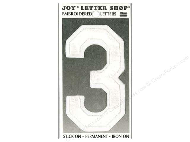 "Joy Lettershop Iron-On Embroidered Number ""3"" 3 in. White"