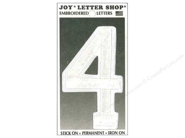 "Joy Lettershop Iron-On Embroidered Number ""4"" 3 in. White"