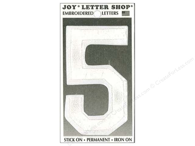 "Joy Lettershop Iron-On Embroidered Number ""5"" 3 in. White"