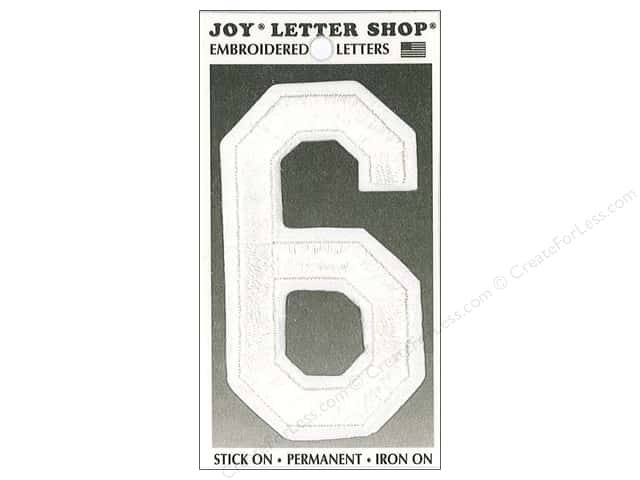 "Joy Lettershop Iron-On Embroidered Number ""6"" 3 in. White"