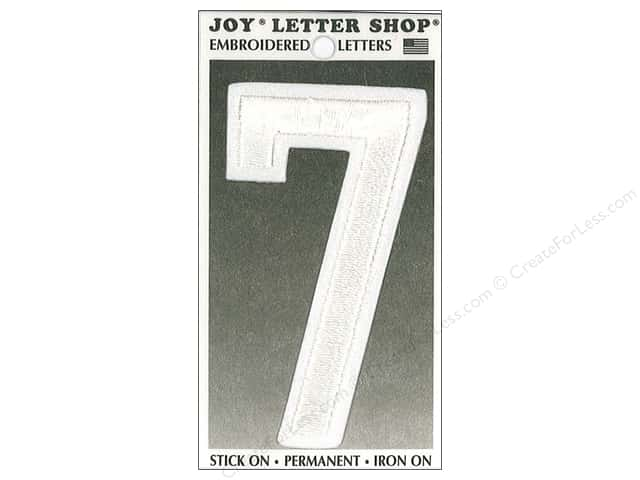 "Joy Lettershop Iron-On Embroidered Number ""7"" 3 in. White"