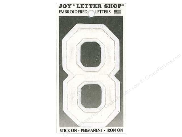 "Joy Lettershop Iron-On Embroidered Number ""8"" 3 in. White"