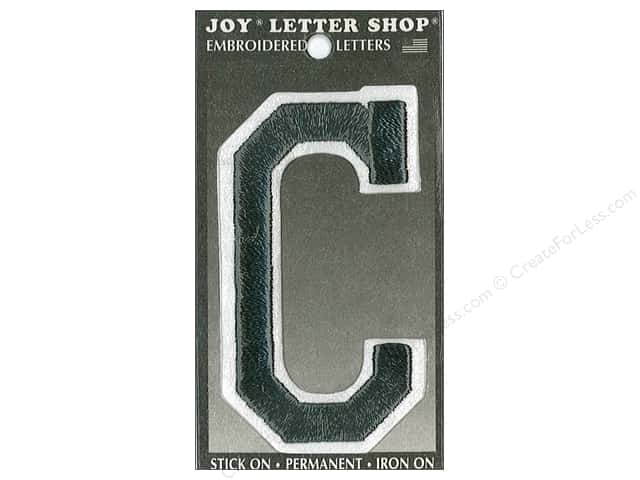 "Joy Lettershop Iron-On Embroidered Letter ""C"" 3 in. Black"