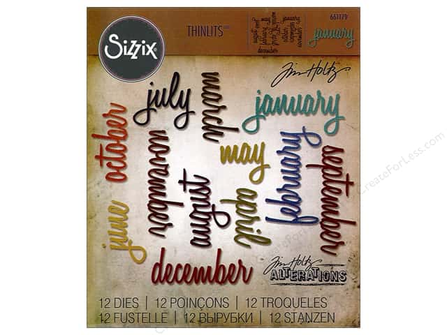 Sizzix Thinlits Die Set 12 pc. Calendar Words: Script