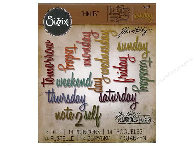 Sizzix Thinlits Die Set 14 pc. Daily Words: Script