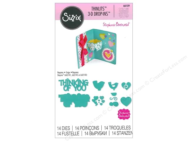 Sizzix Thinlits Die Set 14 pc. Thinking of You 3-D Drop-ins Sentiment
