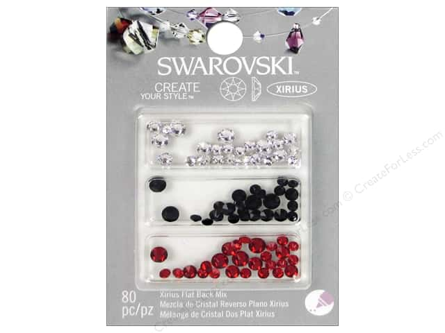 Cousin Swarovski Xirius Flatback Rhinestone Mix 80 pc. Red White Black