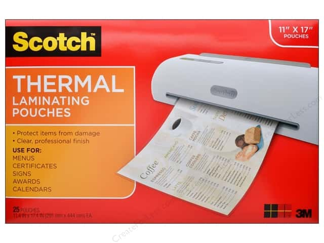"Scotch Laminating Pouch Thermal 11.4""x 17.4"" 25pc"