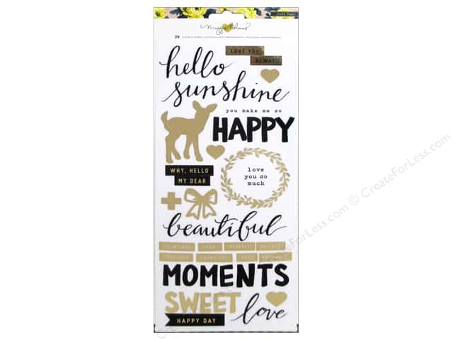 Crate Paper Collection Maggie Holmes Bloom Sticker Happy Gold