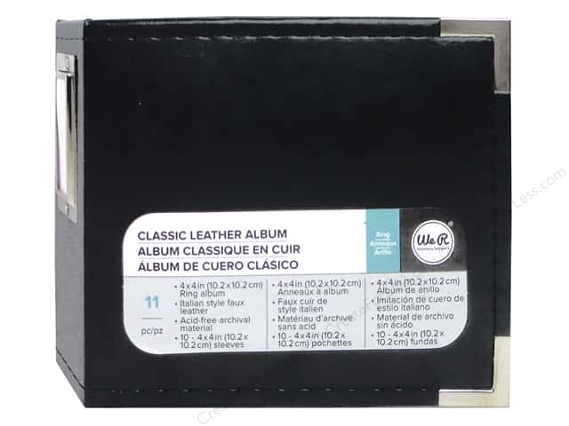 We R Memory Keepers Classic Leather 2-Ring Album 4 x 4 in. Black
