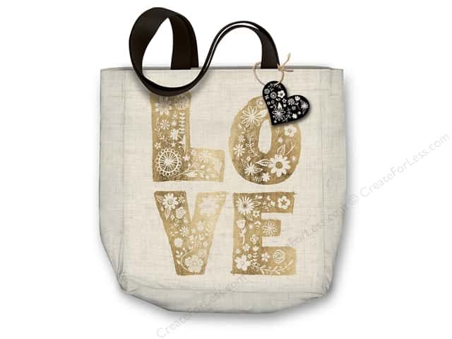 "Molly & Rex Bag Canvas Tote 15""x 16"" Floral Print Love"