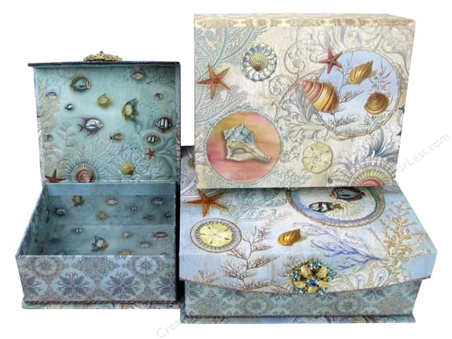 Punch Studio Nesting Boxes Brooch Flap Trinket Seascapes
