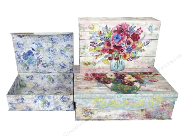 Punch Studio Nesting Boxes Large Fresh Flowers Set/3