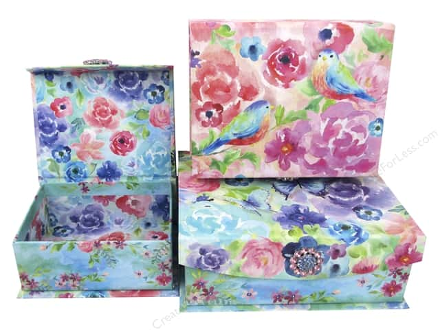 Punch Studio Nesting Boxes Brooch Flap Trinket Painterly Rose