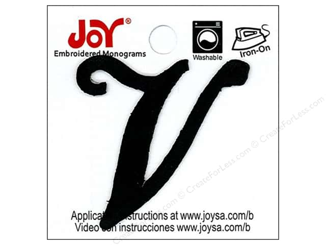 "Joy Lettershop Iron-On Embroidered Letter 1 1/2 in. Script ""V"" Black"