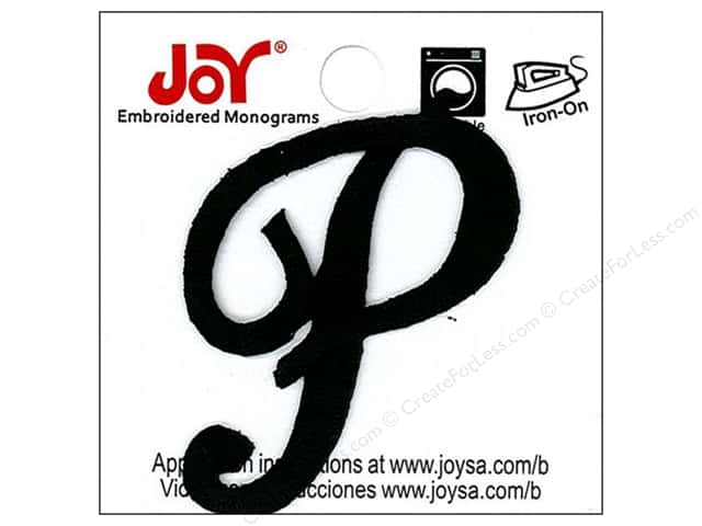 "Joy Lettershop Iron-On Embroidered Letter 1 1/2 in. Script ""P"" Black"
