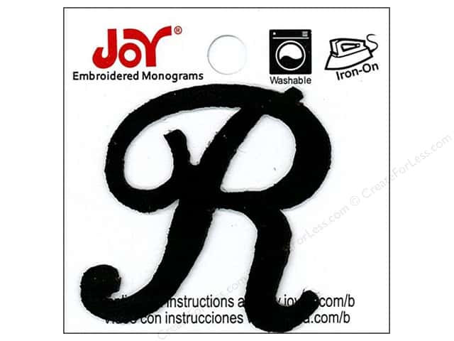 "Joy Lettershop Iron-On Embroidered Letter 1 1/2 in. Script ""R"" Black"
