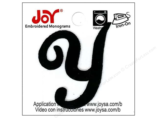 "Joy Lettershop Iron-On Embroidered Letter 1 1/2 in. Script ""Y"" Black"