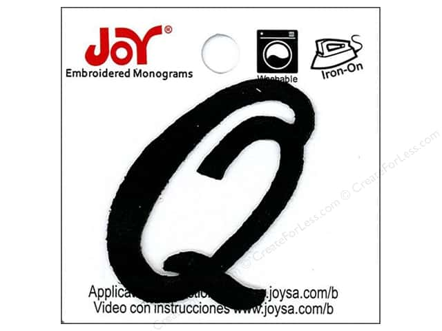 "Joy Lettershop Iron-On Embroidered Letter 1 1/2 in. Script ""Q"" Black"