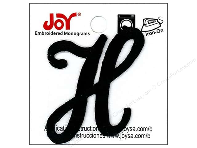 "Joy Lettershop Iron-On Embroidered Letter 1 1/2 in. Script ""H"" Black"