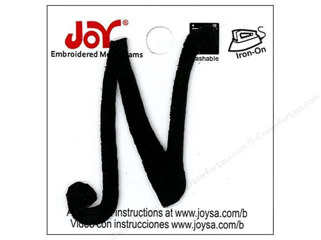 "Joy Lettershop Iron-On Embroidered Letter 1 1/2 in. Script ""N"" Black"
