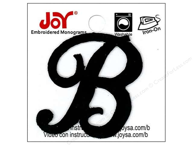 "Joy Lettershop Iron-On Embroidered Letter 1 1/2 in. Script ""B"" Black"
